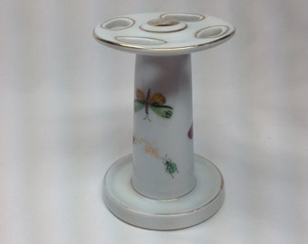 Vintage Toothbrush Holder Porcelain Butterfly Ladybug Beetle Bugs Insects Gold Swirl Trim No 7984