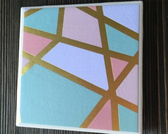 Mod Coasters - Modern Gold Foil Coasters - Abstract Coasters - Mid Century Modern Inspired Coasters, Set of 4 Coasters