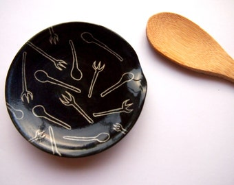 Spoon rest black with white fork and spoon decoration -  chef cooking utensil