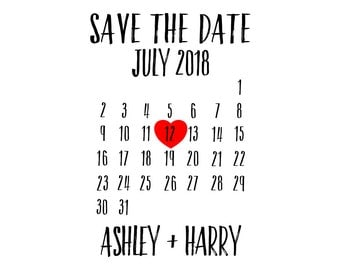 "Save The Date Calendar Stamp, personalised stamp, wedding stamp, wedding invitations stamp, postcard stamp, diy bride stamp, 2""x3"" (cstd77)"