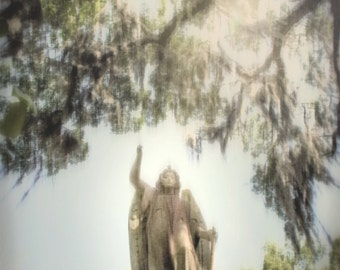 Angel Photo Art, Dreamy Angel Photo, Savannah Angel Gravestone, Angel & Tree photo art, Angel Monument Photo, Bonaventure Cemetery Angel,