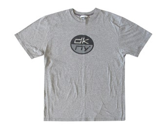 Vintage DKNY Jeans Grey T-Shirt Large XL Donna Karan Designer Sportswear