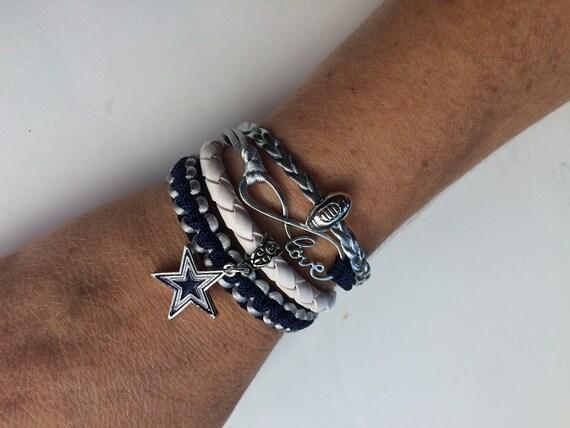 Dallas Cowboys Football 4 In 1 Macrame Leather Bracelet