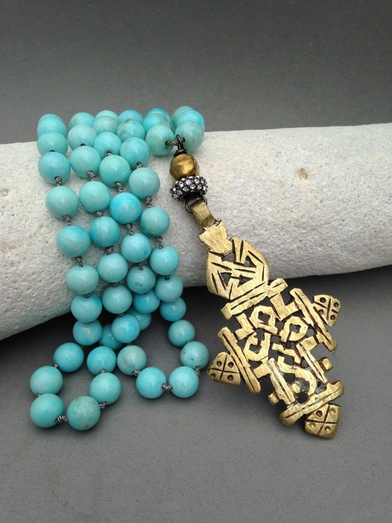 Amazonite necklace with Ethiopian cross