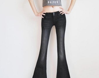 bell bottoms,bell bottom jeans,flare pants,womens jeans,denim pants,Low waisted pants,unique pants,black pants- Women Clothing