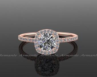 14k Rose Gold Halo Diamond Moissanite Engagement Ring Cushion Cut Wedding Ring,  Re00082