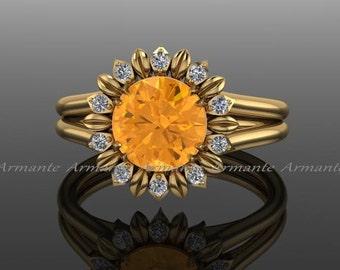 Sunflower Ring, Engagement Ring, Citrine And Diamond Flower Ring, 14k Yellow Gold Wedding Ring Re00030