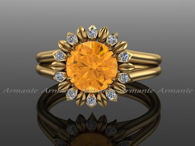 Sunflower Ring Engagement Ring Citrine And Diamond Flower