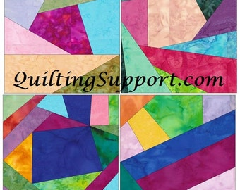 Crazy Patch Set 4 Paper Foundation Piecing Quilting 4 Block Patterns PDF