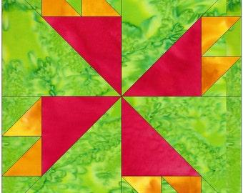 Rosebud Pinwheel Paper Piece Foundation Quilting Block Pattern