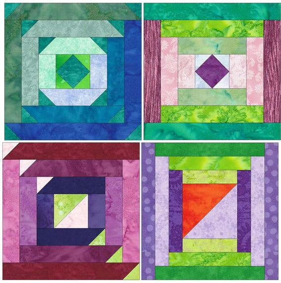 Paper Piecing Quilt Patterns Log Cabin : Log Cabin Set 1 Paper Foundation Piecing Quilting 4 Block