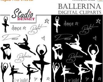 30% OFF SALE Ballerina Cliparts, Ballet Dance Silhouettes, Black and White Clip Art, C281