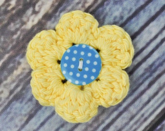 Yellow and Blue Hair Clip- Flower