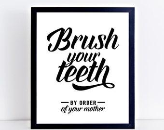Bathroom Signs Brush Your Teeth please seat yourself funny bathroom print bathroom art