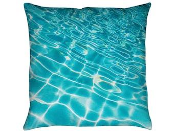 Pool Ripples Printed Throw Pillow. Cushion Cover, Apartment and Dorm Decor, Sofa Cushion, Swimming, Water, Aquatic, Surf, Tropical Decor