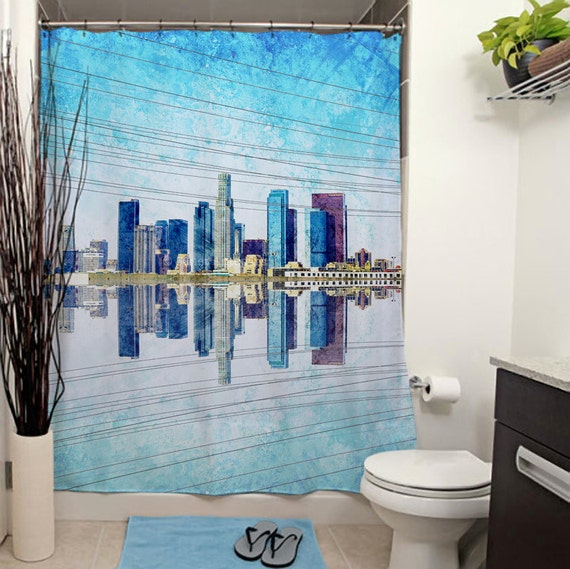 Items Similar To Los Angeles Skyline Printed Shower Curtain Bathroom Decor Home Downtown Los