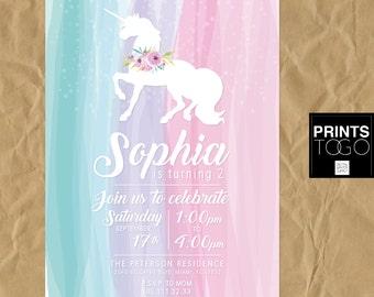 Unicorn invitation, Unicorn party, First birthday invitation, girly invitation, first birthday, watercolor, baby girl, custom invitation