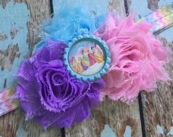 Disney Princess Shabby flower headband hair bow