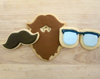 Hipster Beards & Glasses Cookies - One Dozen