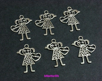 "Lot of 24pcs Antique Silver Tone Double Sided ""Charming Girl"" Metal Charms. #JL3225."