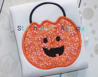 Halloween Candy Bucket Jack O' Lantern Machine Applique Design