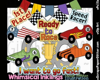 Ready To Race Clip Art - Commercial Use, Digital Image, Clipart, Png - Instant Download - Racing, Soap Box Derby, Boy Scouts, Race Car Derby