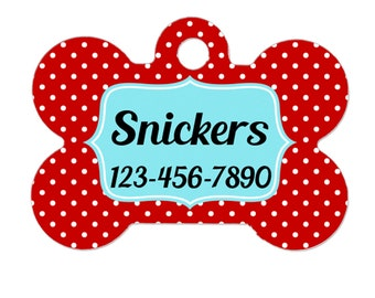 Pet ID Tag - Red Aqua Polka Dot Custom Dog Collar Tag