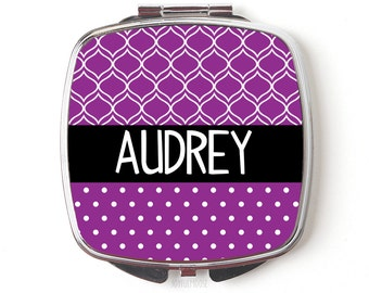 Personalized Compact Mirror - Purple Personalized Purse Mirror - Personalized Bridesmaids Gifts