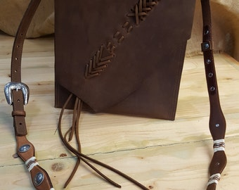 Leather frontier bag, cross body leather bag, leather bag, brown leather bag, brown cross body bag, small leather purse