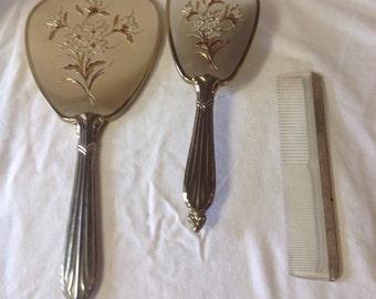 Vintage Vanity Dresser Set/ Brush and Mirror Set