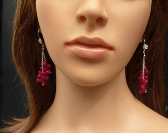 Long Pink Agati Agate Earrings