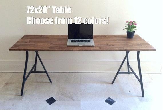 72x20 long narrow desk table on ikea legs by goldenrulenyc