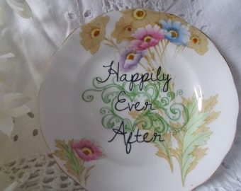 Vintage China 'Happily Ever After' Decorated Plate - Only 1 Available