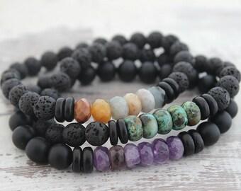 Mens Bracelet Boyfriend Gift Mens Gift Mens Beaded Bracelet Father Gift for Brother Gift Lava Stone Bracelet Onyx Bracelet