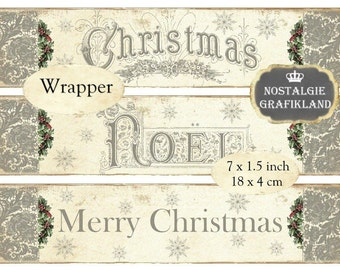 Wrapper Christmas Noel Words Text Shabby Chic Gift Wraps Strips Instant Download digital collage sheet E142
