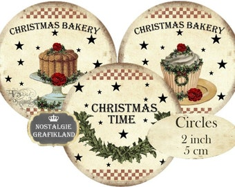 Christmas Bakery Country Cupcakes Cakes Circles 2 inch Instant Download digital collage sheet C118