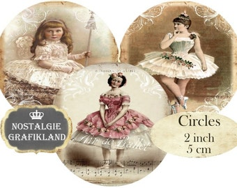 Circles 2 inch French Ballerina Ballet Vintage Instant Download digital collage sheet C220