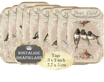 Shabby Chic Birds Swallow Robin Postcard Tags Instant Download digital collage sheet T124