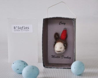 Miniature paper box with a friendly ass head-needle felting Magic circus box: Mr. Cosy Donkey-Ready to ship