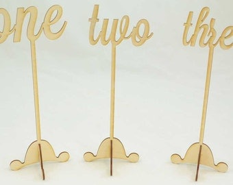 Wood Table Numbers | Wedding Table Numbers  | Rustic Wedding | Wooden Table Numbers | DIY | Free Standing | Script Font