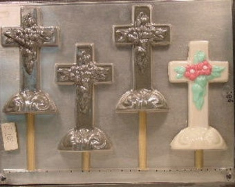 Floral Cross Chocolate Lollipop Mold