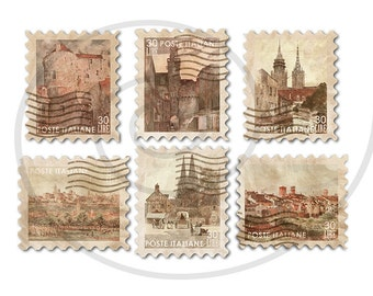 Fake stamps. Old postage stamps. Vintage digital stamps. Postage stamp art. Digital collage sheet. Villages of Europe. Instant download PNG