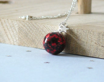 Necklace Oniries - Poisoned Apple, necklace, glass glitter, red, black, for woman, collar short