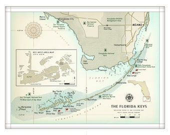 """The Florida Keys and South Florida  11""""X 14"""" [vintage inspired] artistic map print"""
