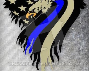 American Eagle Flag, Law Enforcement - printable, vector, art, svg, cut file