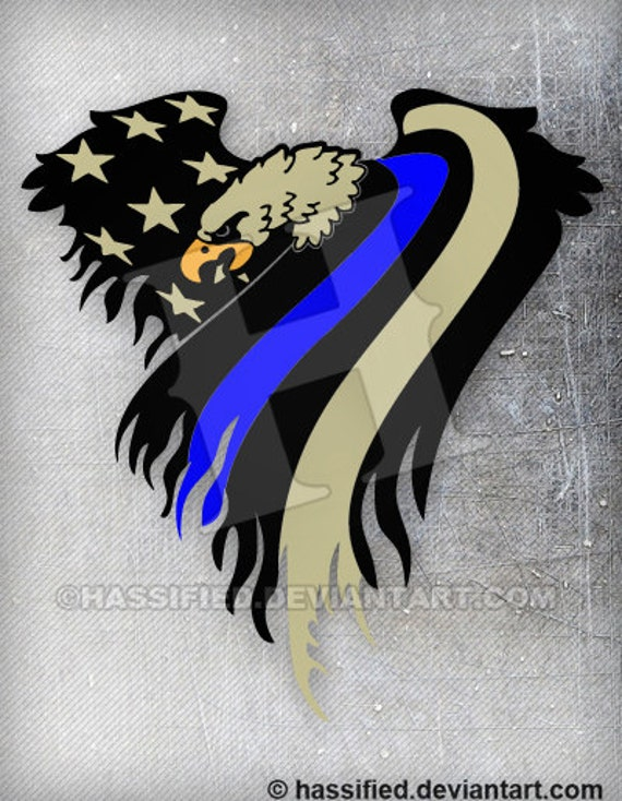 American Eagle Flag Law Enforcement Printable Vector Art