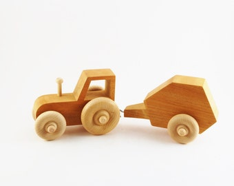 Wooden Toy Tractor and Round Hay baler - Waldorf Toy