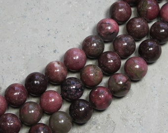 12mm Rhodonite round large hole beads