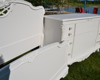 SOLD White bed  solid wood Carved wood Bed . Headboard & Footboard side rails