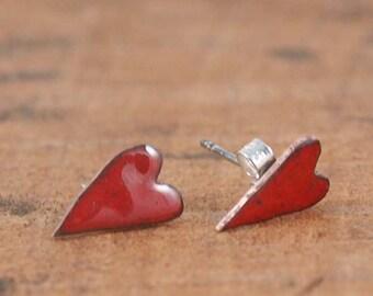 Heart Stud Earrings - Red enamel Heart ear studs - copper enamel elongated heart earrings -romantic jewellery - wedding jewelry - valentine